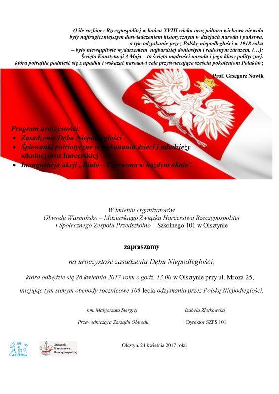 Zaproszenie Na Uroczystość Posadzenia Dębu Niepodległości