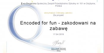 Otrzymaliśmy Krajową Odznakę Jakości za projekt eTwinning – Encoded for fun