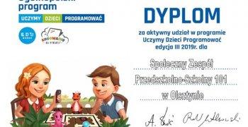 Dyplom za aktywny udział w programie Uczymy Dzieci Programować III edycja 2019